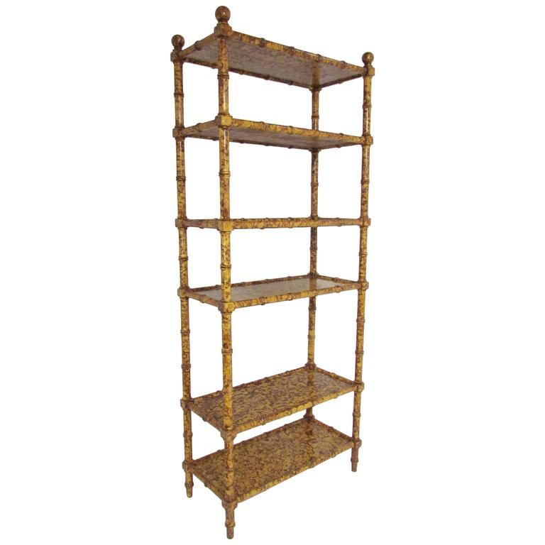 hollywood regency faux bamboo etagere shelving display unit with tortoise finish for sale at 1stdibs. Black Bedroom Furniture Sets. Home Design Ideas