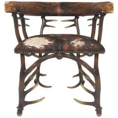 Faux Antler and Cowhide Occasional Armchair