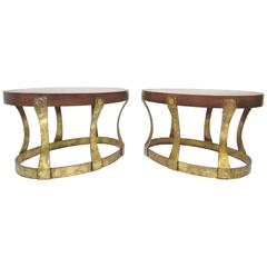Pair of Brutalist Walnut End Tables with Gilt Metal Bases by Heritage