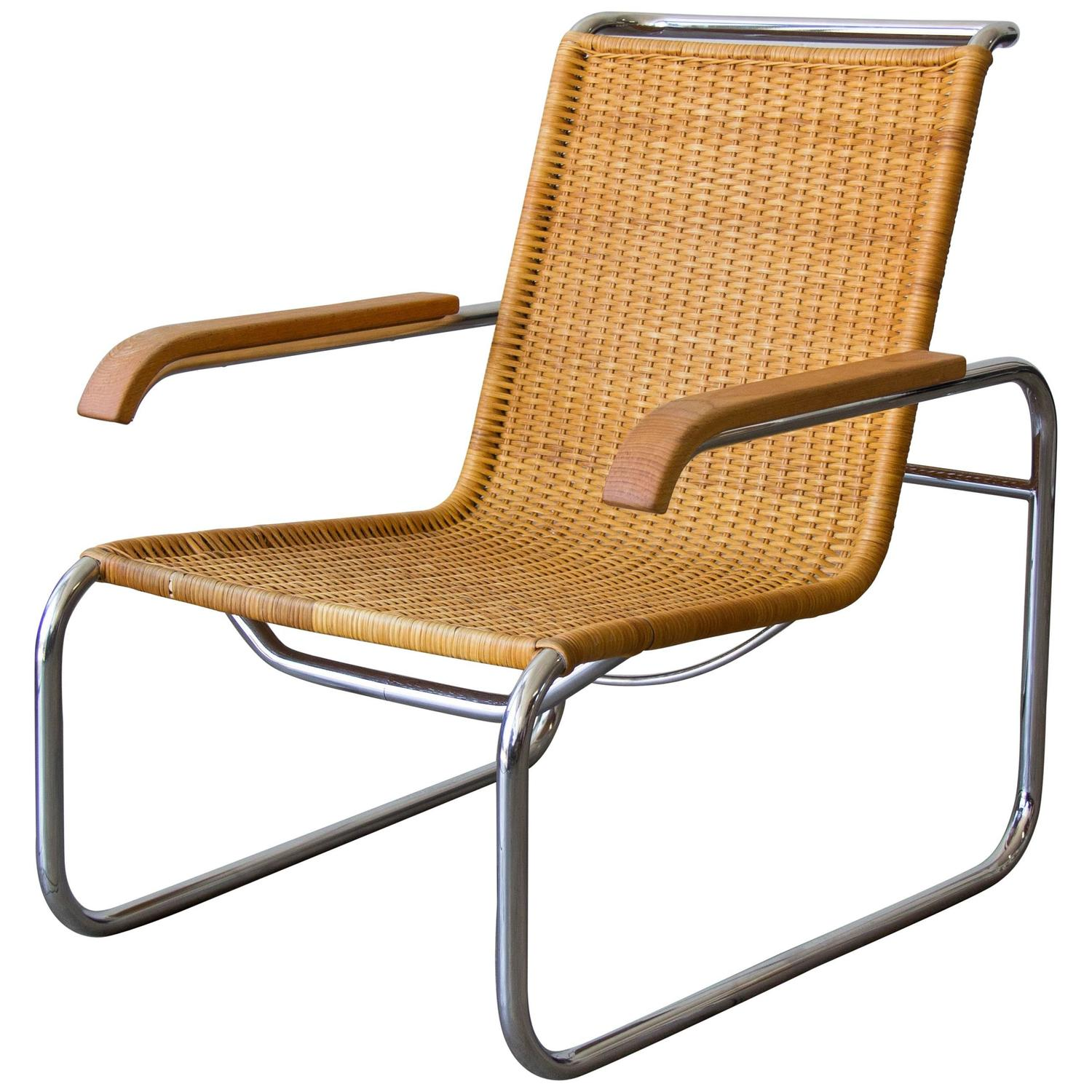 Rare set of twelve victorian solid oak leather antique chairs empire - Marcel Breuer For Thonet B35 Rattan Lounge Chair