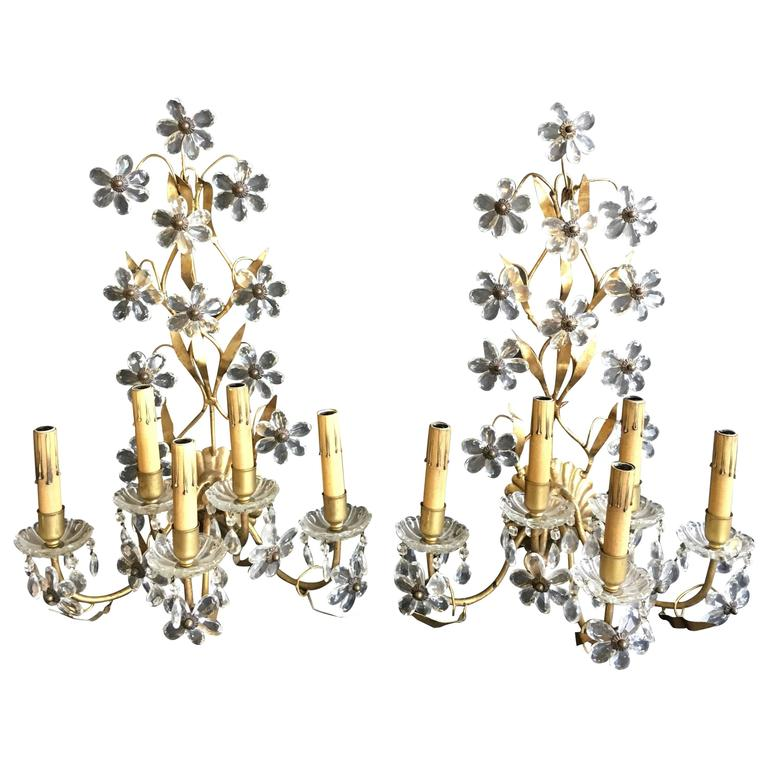 Italian Crystal Wall Sconces : Pair of Five-Arm Italian Floral Crystal Wall Sconces For Sale at 1stdibs