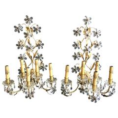 Pair of Five-Arm Italian Floral Crystal Wall Sconces