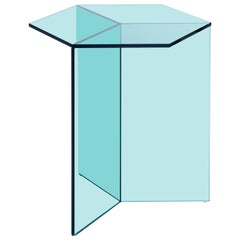 Isom Tall Green Side Table in Tempered Glass