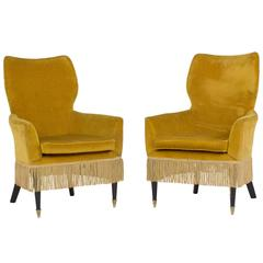 Rare and Stylish Pair of Ladies Chairs by Paolo Buffa, Italy, 1960s