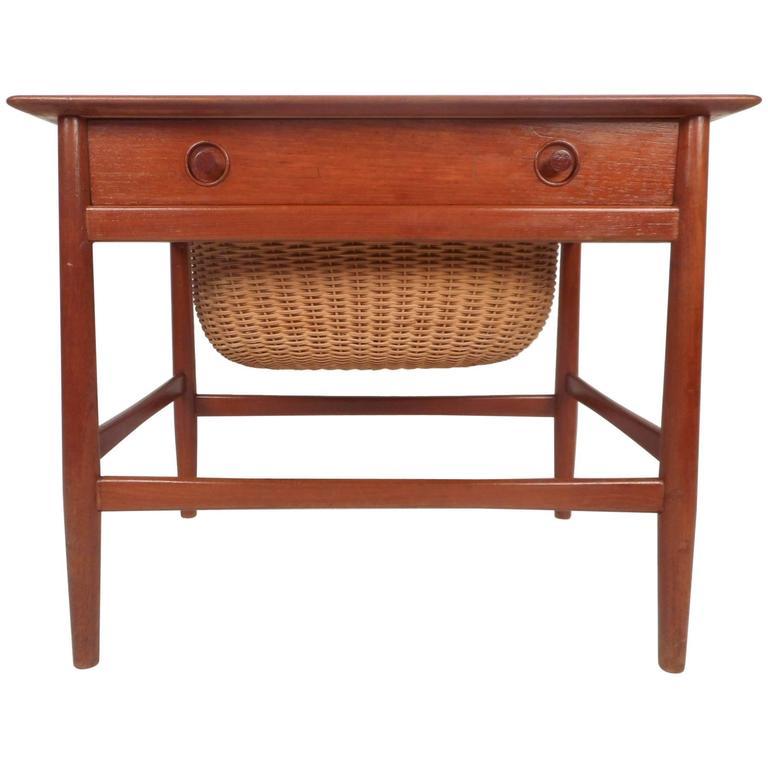 Mid Century Modern Danish Teak Sewing Basket End Table
