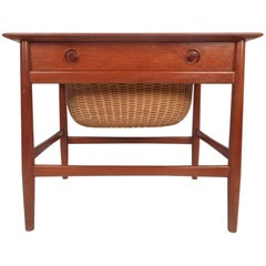 Mid-Century Modern Danish Teak Sewing Basket End Table