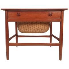 Mid-Century Modern Danish Teak Sewing Basket End Table