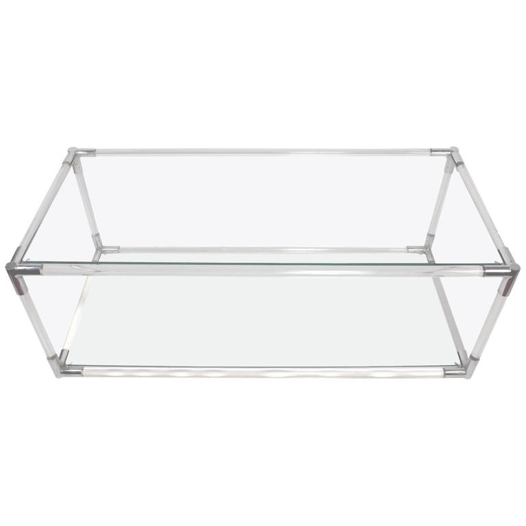 Lucite Chrome and Glass Console Table Attributed to Charles Hollis Jones