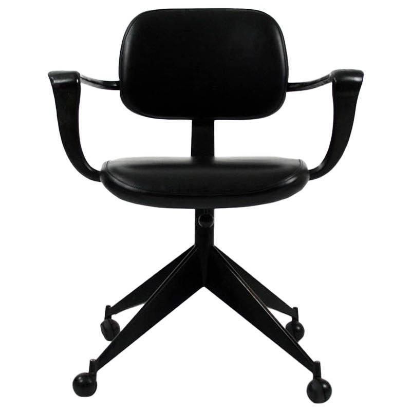 Jules Wabbes Black Leather Desk Chair For Velca Legnano, Circa 1960 For Sale