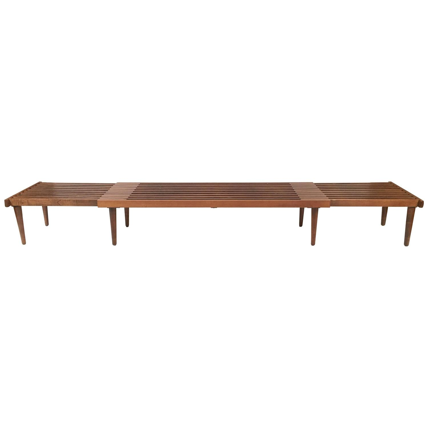 Mid Century Slat Wood Bench or Coffee Table Adjustable Length at