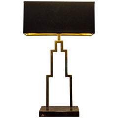 Manhattan Polished Brass Table Lamp & Portoro Marble, Made in italy by artisans