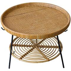 Rattan Two-Tier Tray Table with Wrought Iron Legs