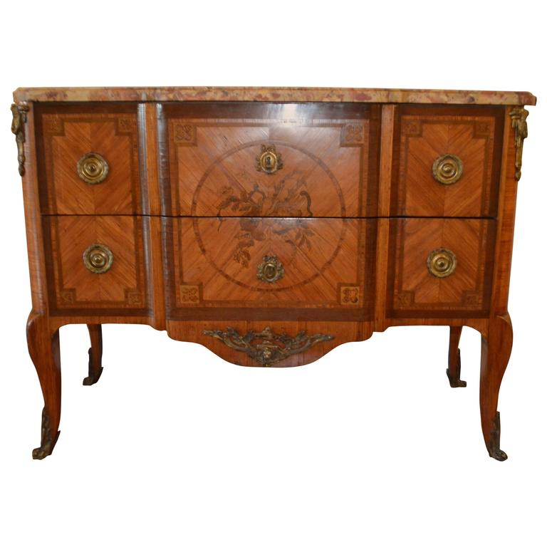 19th century transitional style tulip wood inlay commode with original marble for sale at 1stdibs. Black Bedroom Furniture Sets. Home Design Ideas