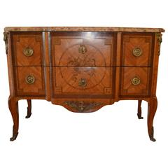19th Century Transitional style Tulip Wood Inlay Commode with Original Marble