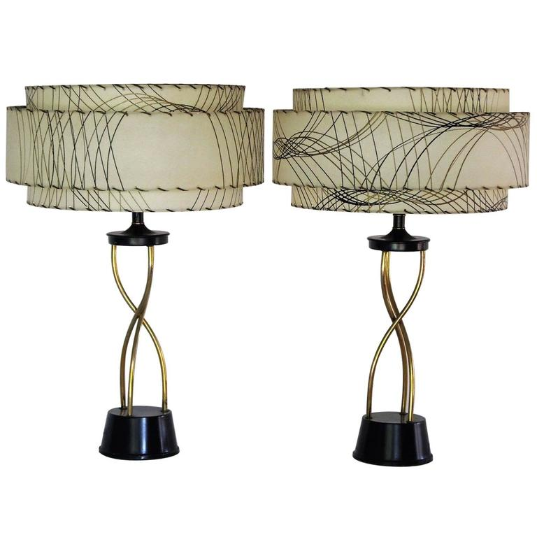 Marvelous Pair Of High Style 1950s Table Lamps With Triple Decker Shades At 1stdibs