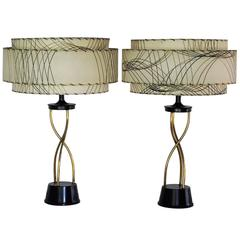Pair of High Style 1950s Table Lamps with Triple Decker Shades