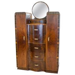 Art Deco Walnut Dresser or Chifferobe
