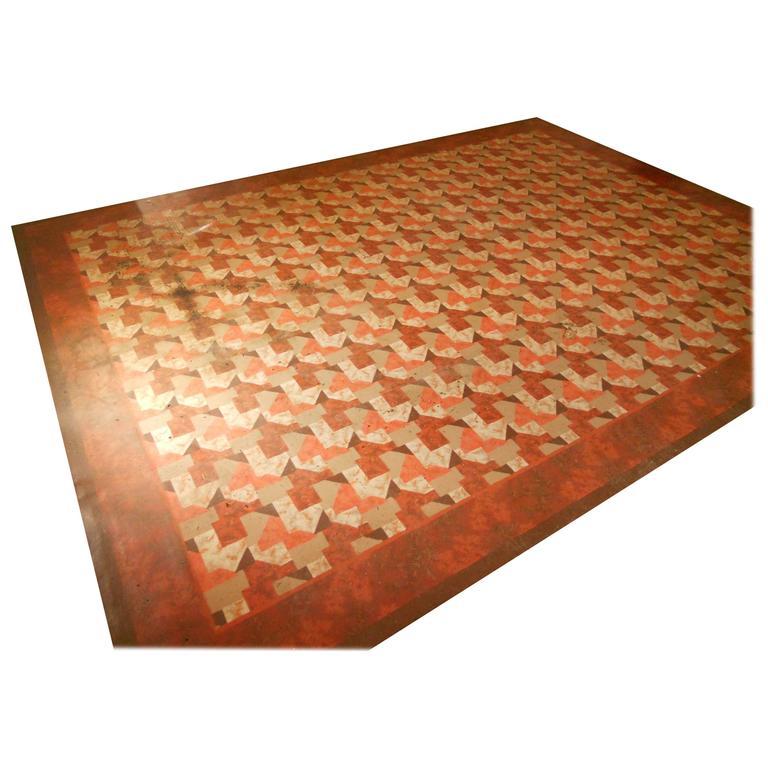 Linoleum Rug Carpet, Circa 1940s; Three Available In