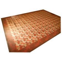 Linoleum Rug Carpet, circa 1940s; Three Available in Different Patterns