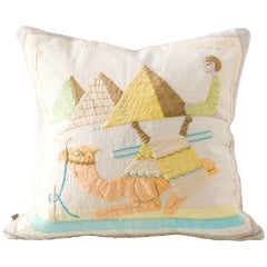 Egyptian Appliqué Pillow in Bright Cheery Colors