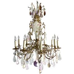 19th Century French Amethyst Quartz, Rock Crystal and Rose Quart Chandelier