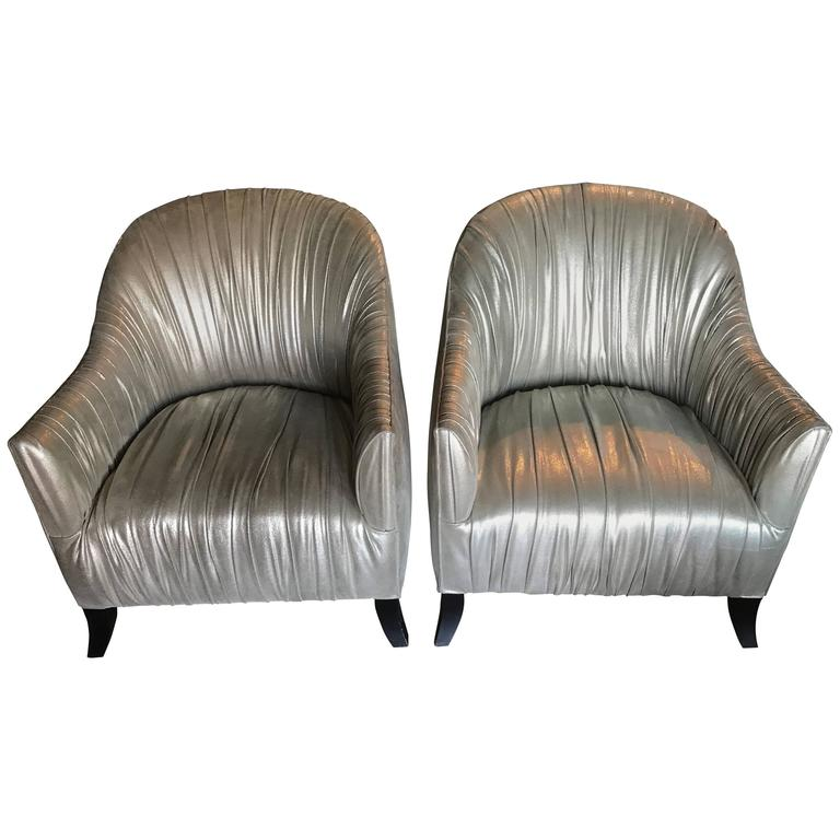 Pair Of Hollywood Regency Modern Ruched Silver Metallic Leather Club Chairs  For Sale