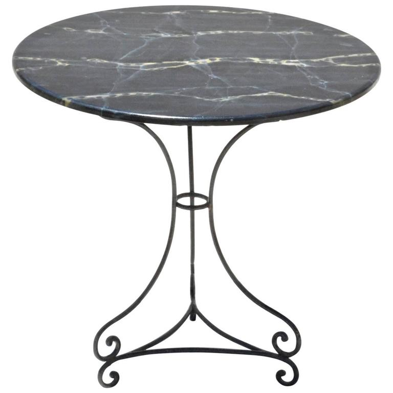 Thick Square Black Stone Top Coffee Table With Short Black: Round Iron Base Table With Marble Top At 1stdibs