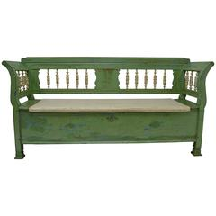 Painted Pine and Oak Box Bench