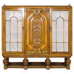 Art Deco Bookcase English Three-Door Display Cabinet