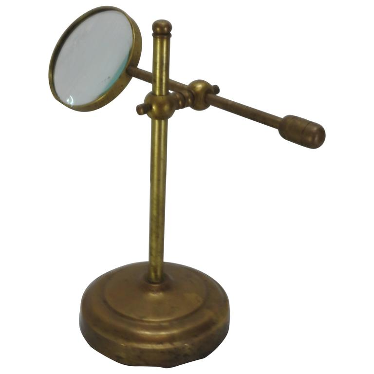 Brass Industrial Magnifier on Stand