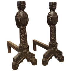 Pair of Period Gothic Andirons from France, 15th Century