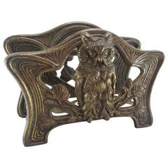 Art Nouveau Owl Letter Napkin Holder by H. L. Judd Co