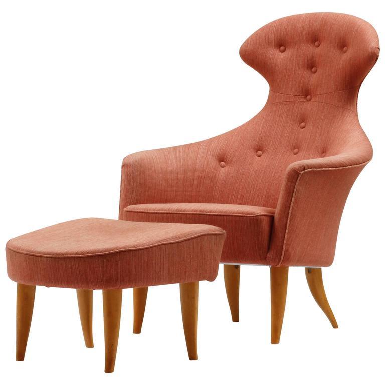 "Kerstin Horlin Holmquist ""Stora Eva"" Chair and Ottoman, 1950s-1960s, Sweden"