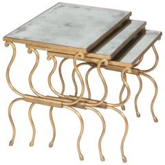 Set of Bronze Gilt Nesting Tables in the Style of Rene Prou