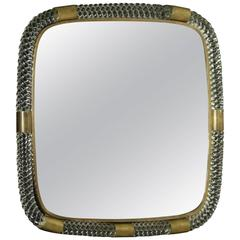 Mirror by Paolo Venini Wooden Panel Glass Frame Brass Vintage, Italy, 1950s