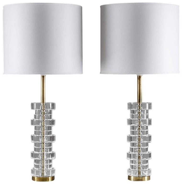 Pair of Large Swedish Table Lamps by Carl Fagerlund for Orrefors For Sale
