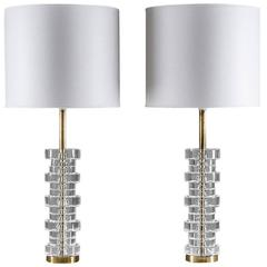 Pair of Large Swedish Table Lamps by Carl Fagerlund for Orrefors