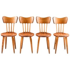 Set of Four Swedish Chairs in Pine by Torsten Claeson, 1930s
