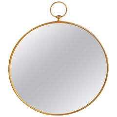 Large Circular Brass Mirror, France, 1950s