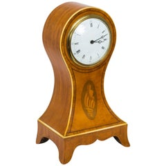 Early 20th Century Edwardian Inlaid Satinwood Mantle Clock