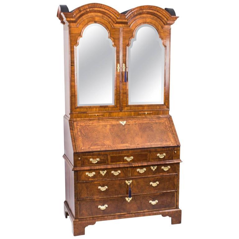 18th Century Queen Anne Double Dome Burr Walnut Bureau Bookcase For Sale