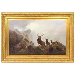 Antique Oil Painting by Thomas Henry Gibb of Red Deer Signed