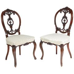 Pair of Victorian Carved Walnut Side Chairs
