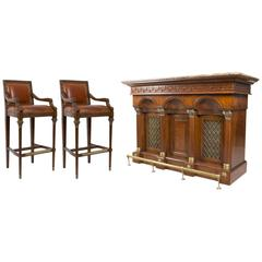 Flame Mahogany Cocktail Drinks Cabinet Dry Bar Pair of Stools