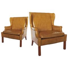 Fine Pair of 20th Century Large Leather Wingback Armchairs