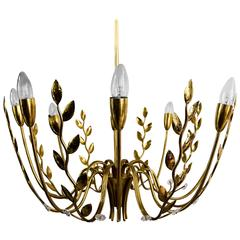 Very Beautiful Eight-Arm Hammered Leaves Chandelier Attributed Lobmeyr, 1950s