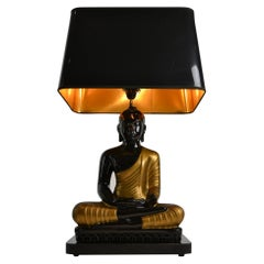 Large Buddha Table Lamp, black and gold , Europe, 1970s