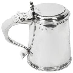 Antique English William & Mary Sterling Silver Lidded Tankard, 1691
