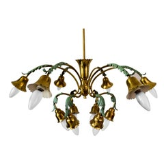 12-Arm Chandelier with Green Leaves Italien, circa 1960s