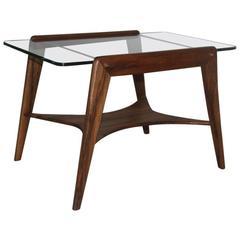 Italian Table Coffee Mid-Century modern wood and Crystal 1950